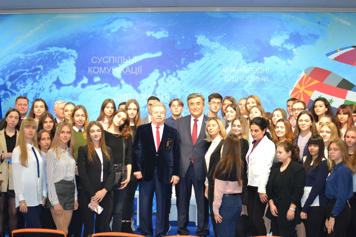 "On October 23, 2019, at the Kyiv National University of Culture and Arts, Ambassador Extraordinary and Plenipotentiary of the Kyrgyz Republic to Ukraine Zh. Sharipov gave a lecture for students of the faculty of international relations on the topic: ""The History of the Formation of Kyrgyz Statehood and its Diplomacy"", dedicated to the 75th anniversary of establishment of Ministry of Foreign Affairs of the Kyrgyz Republic."
