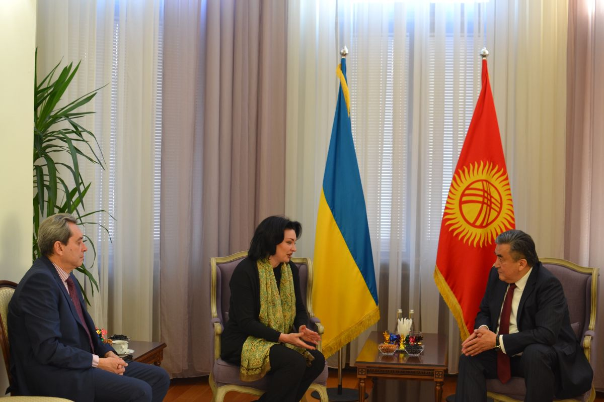 On November 26, 2019, Ambassador Extraordinary and Plenipotentiary of the Kyrgyz Republic to Ukraine Zhusupbek Sharipov received the citizen of the Kyrgyz Republic, the Country Representative of UN Women in Ukraine Anastasia Divinskaya in connection with the completion of her mission in Ukraine.